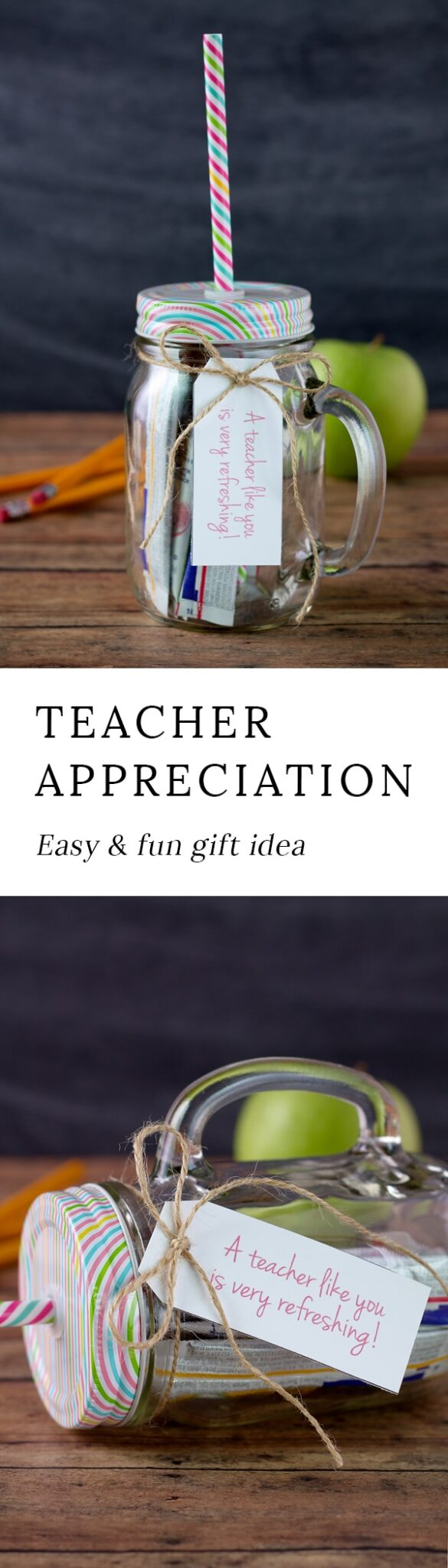 Love this simple and inexpensive Teacher Appreciation Day gift idea! Kids can put it together all by themselves. Includes a free printable!