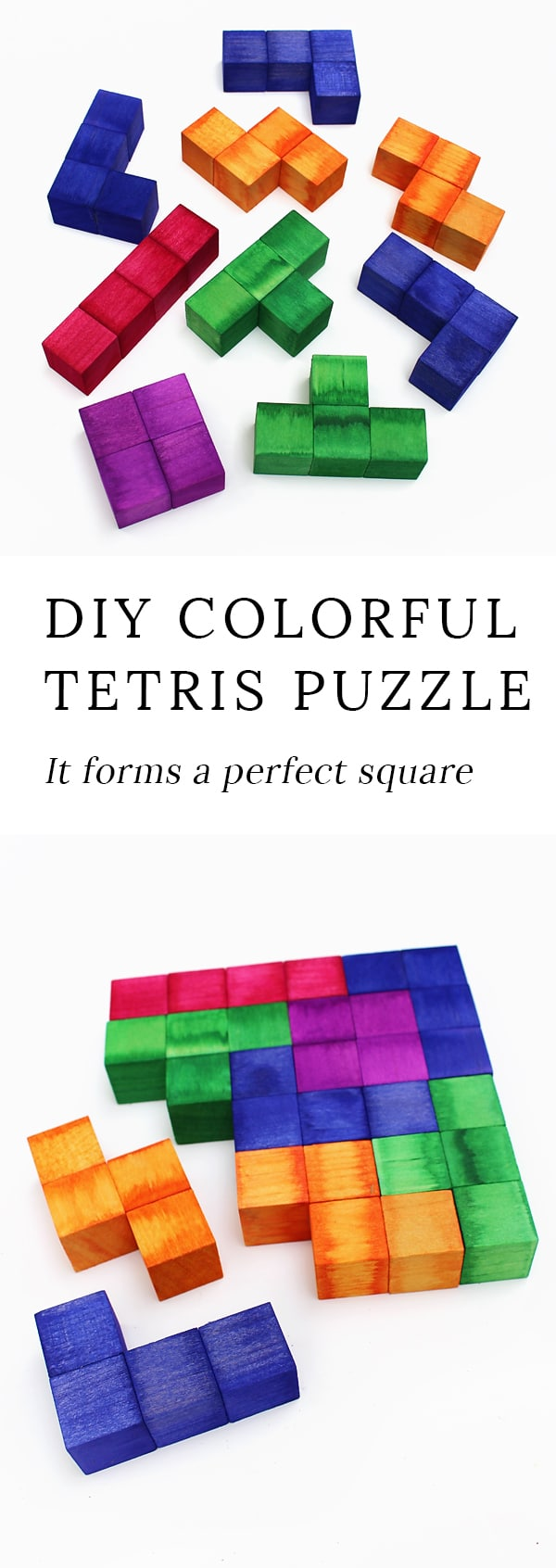 Children of the 80's, get ready to swoon! This vibrant Tetris Inspired Puzzle forms a perfect square when solved! It has more than one solution, and the pieces can also be used as blocks.