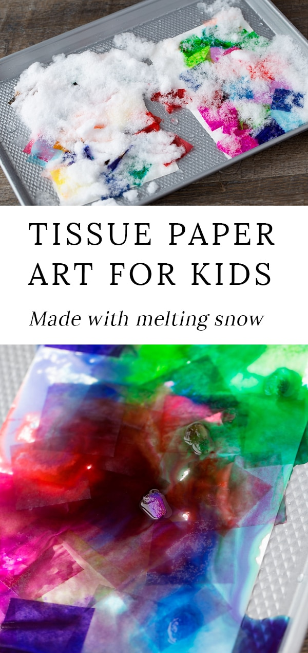 """Nature and art collide in this beautiful """"snowy day""""tissue paper art project. Simple enough for kids of all ages, this colorful process art project uses bleeding tissue paper and snow to create vibrant one-of-a-kind paintings. It's the perfect winter art activity for home, school, or community programs. #winter #art via @firefliesandmudpies"""