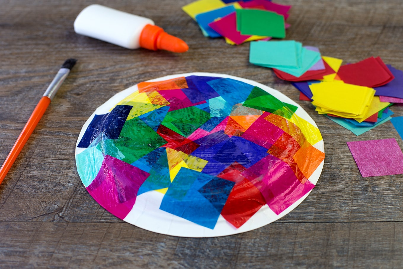 Tissue paper and paper plate turtle craft for Craft made by paper