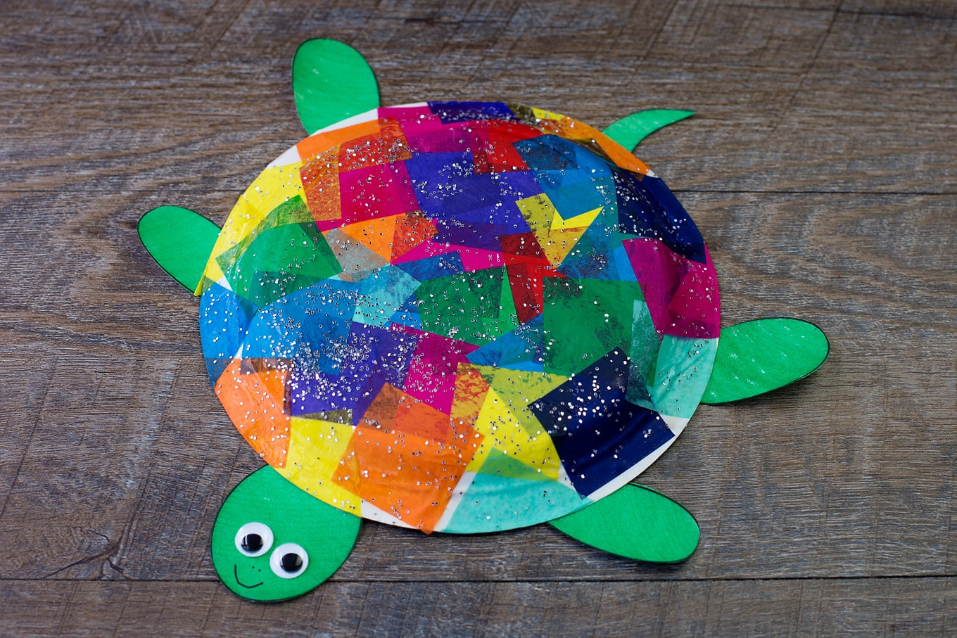 Paper Plate Turtle Craft & Tissue Paper and Paper Plate Turtle Craft