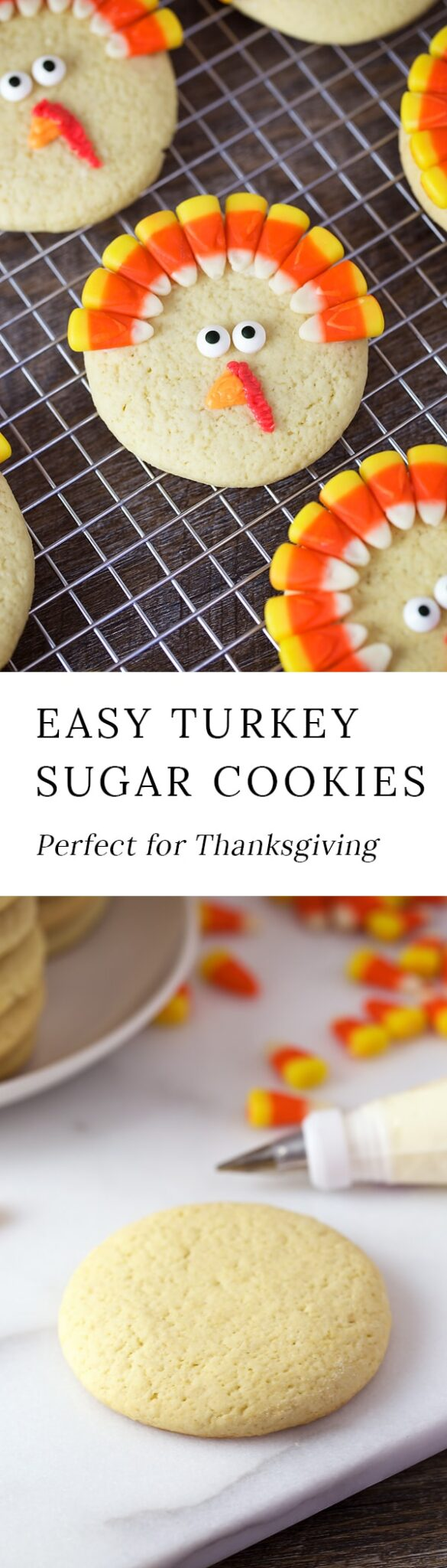 Turkey Sugar Cookies are a playful treat for November. Guaranteed to please kids of all ages, they are fun to make for parties, lunch boxes, and playdates. #thanksgiving #cookies via @firefliesandmudpies