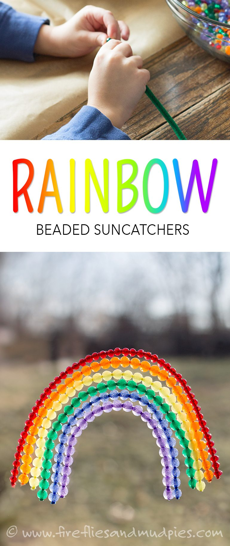 Aren't these rainbow beaded suncatchers gorgeous! I love how they brighten up dreary winter windows! | Fireflies and Mud Pies