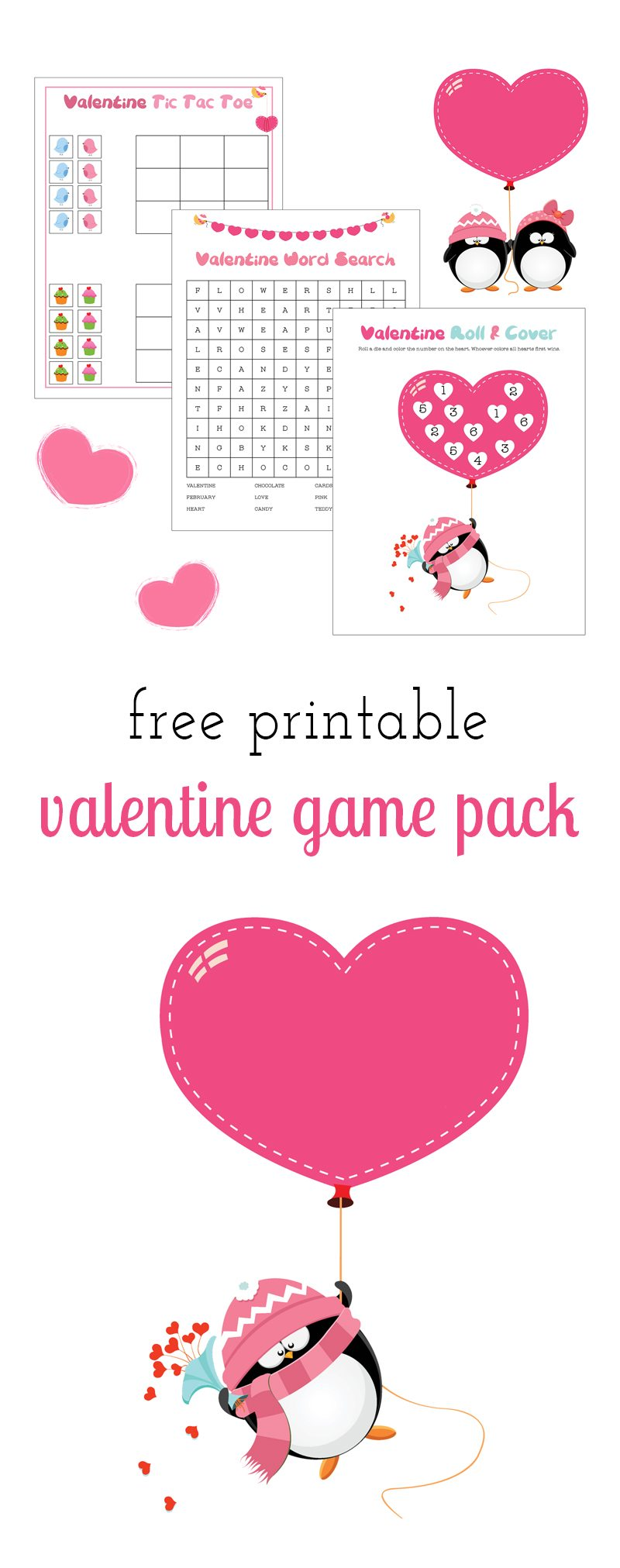 Perfect for school Valentine's Day parties, classroom fun, travel, or keeping busy at home, kids of all ages will enjoy this Free Printable Valentine Game Pack.