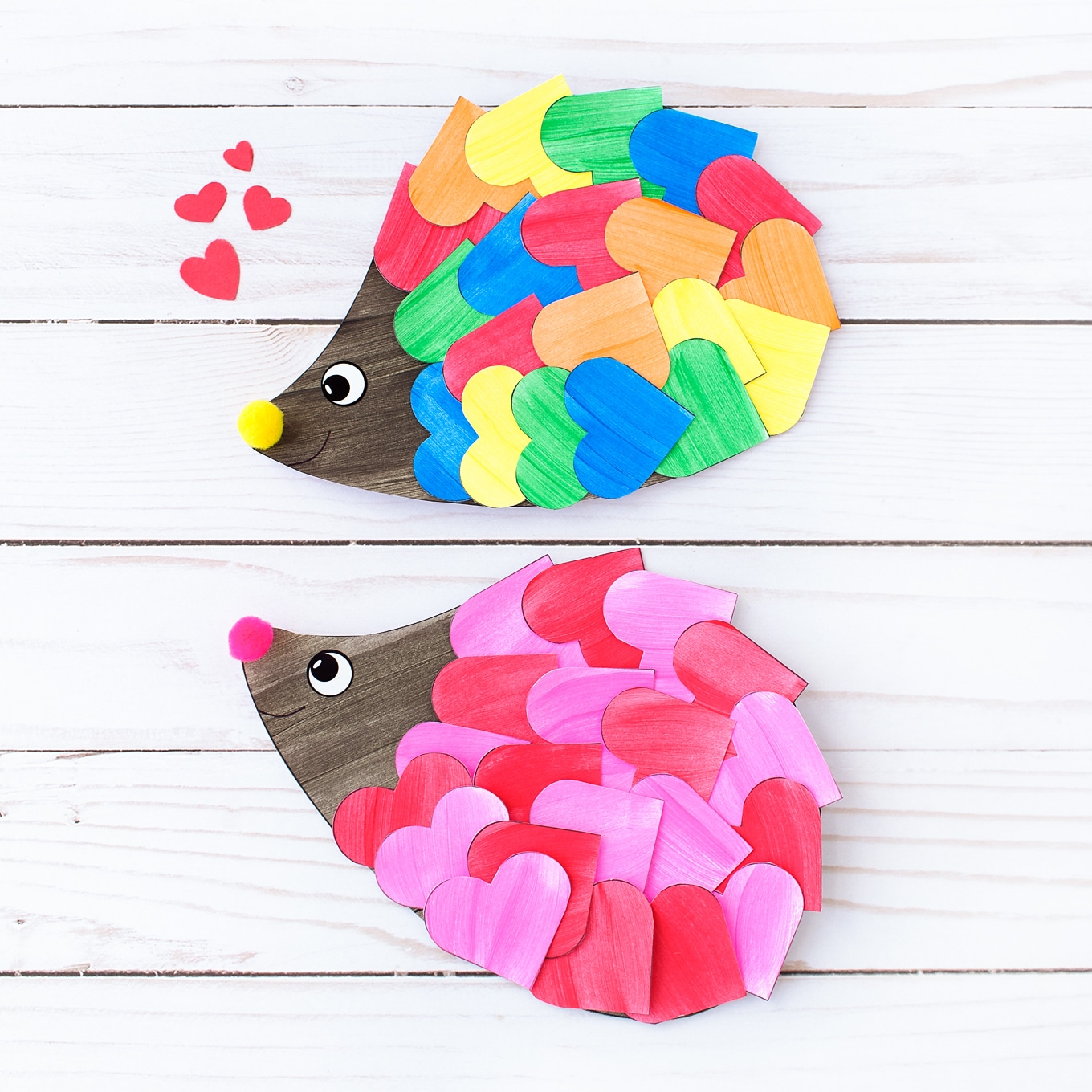 Rainbow and Pink Heart Hedgehog Crafts for Kids