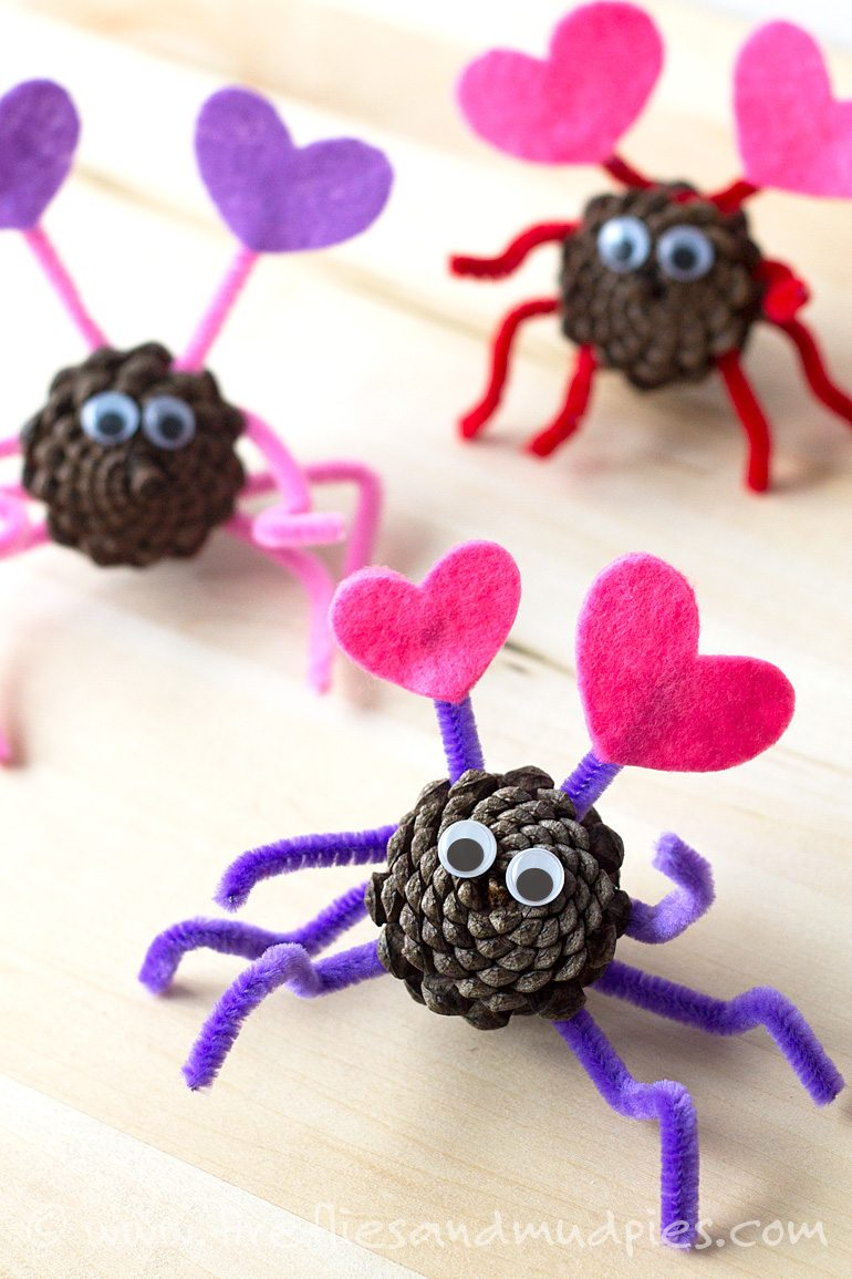 Valentine love bug craft - Pine Cone Love Bugs A Valentine S Day Nature Craft For Kids Fireflies And Mud