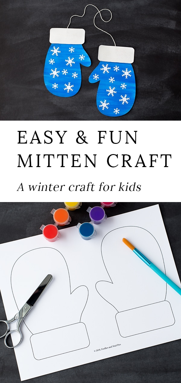 Winter is the perfect season for mitten crafts! Toddlers, preschoolers, and kindergartners will enjoy using our printable template, washable paint, and basic craft supplies to create a fun and colorful mitten craft at home or school. #winter #craft via @firefliesandmudpies