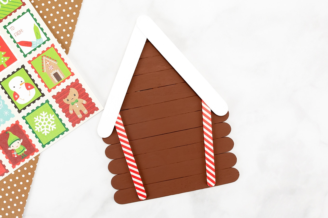 Easy Popsicle Stick Gingerbread House Craft