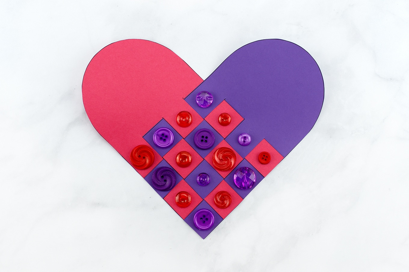 Purple and Red Woven Heart Craft with Buttons