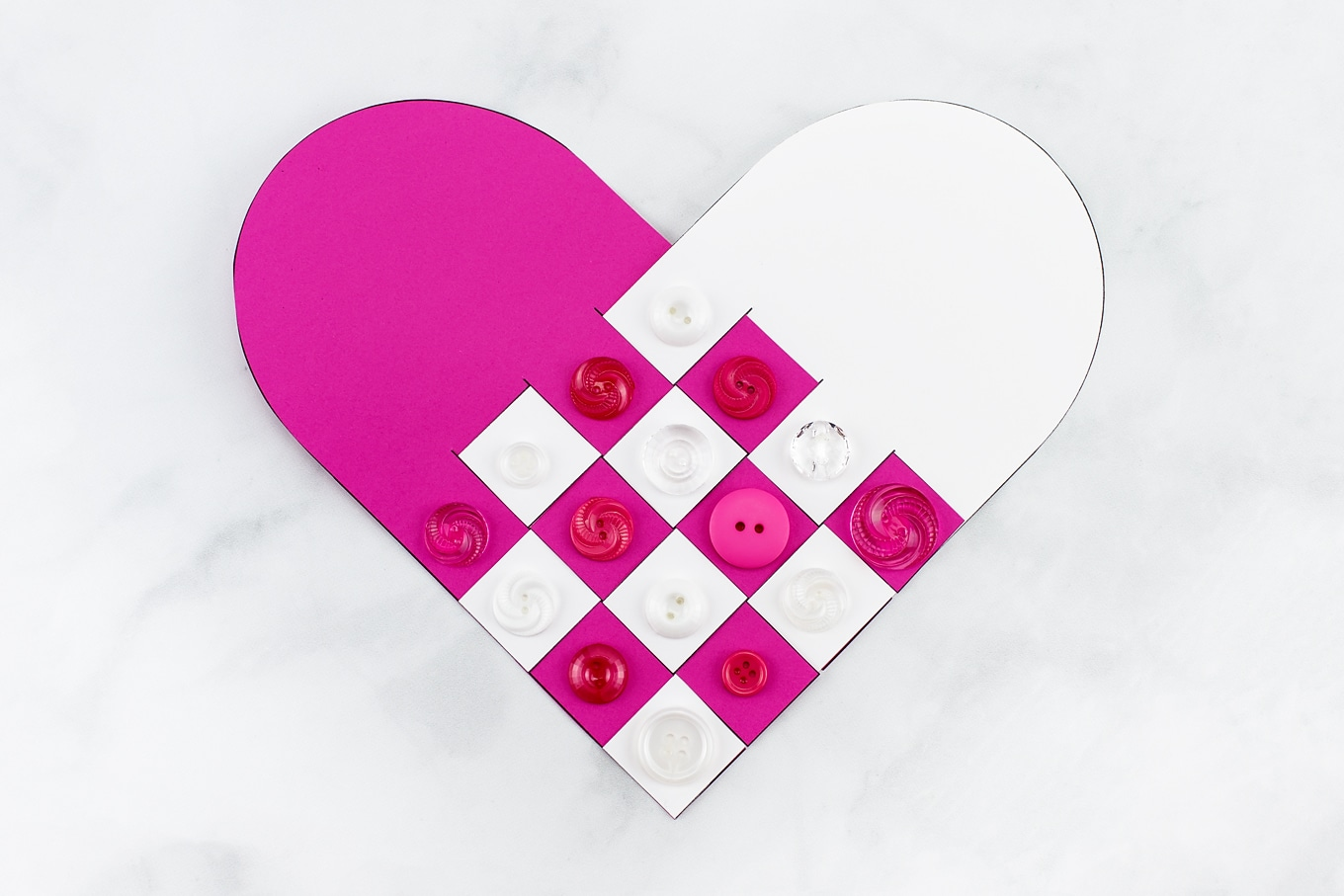 Hot Pink and White Woven Heart Craft with Buttons
