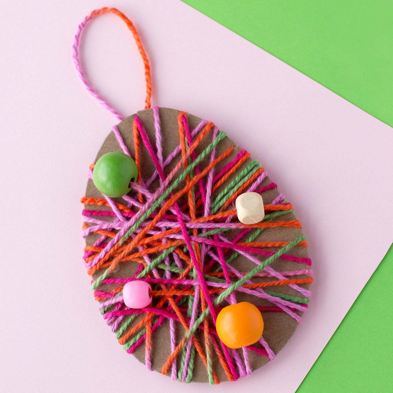 Yarn Wrapped Easter Egg Craft with Beads
