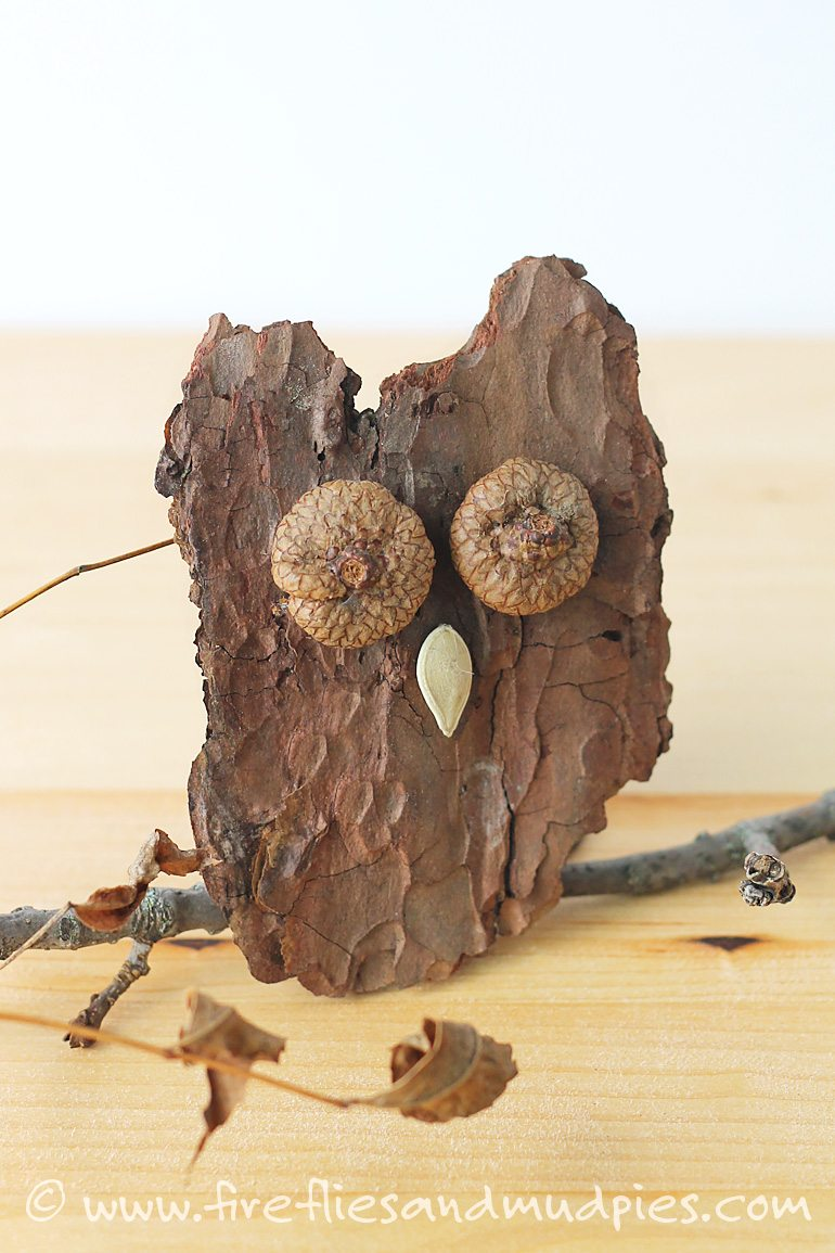 Crafting with natural materials is easy and fun! Make Bark Owls for Halloween! | Fireflies and Mud Pies