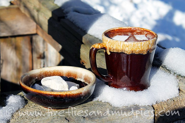 Delicious, homemade hot chocolate—perfect to drink after outdoor winter play! | Fireflies and Mud Pies