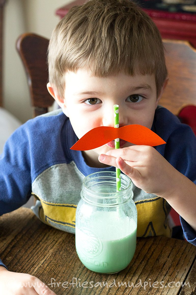 These mustache straws make you look like a leprechaun as you drink your green milk.