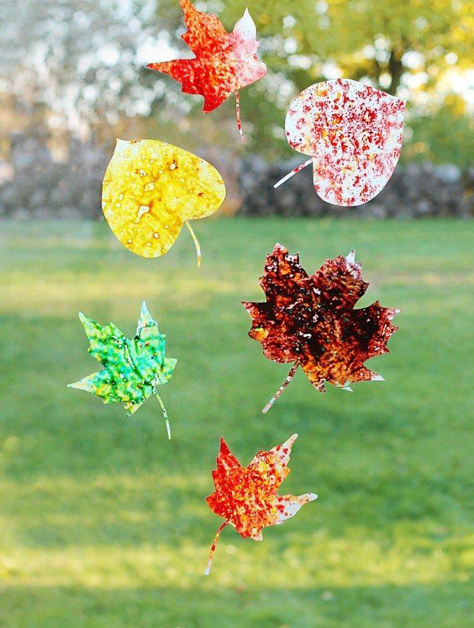 Melted Crayon Leaf Suncatchers