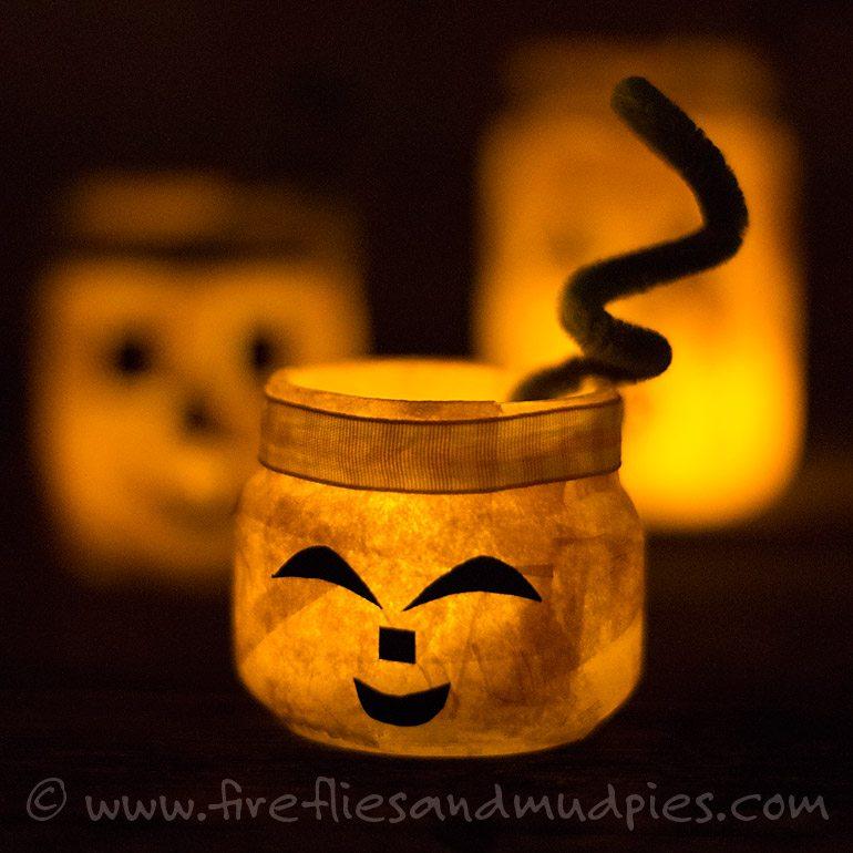 Pumpkin Nightlight Jars | Fireflies and Mud Pies