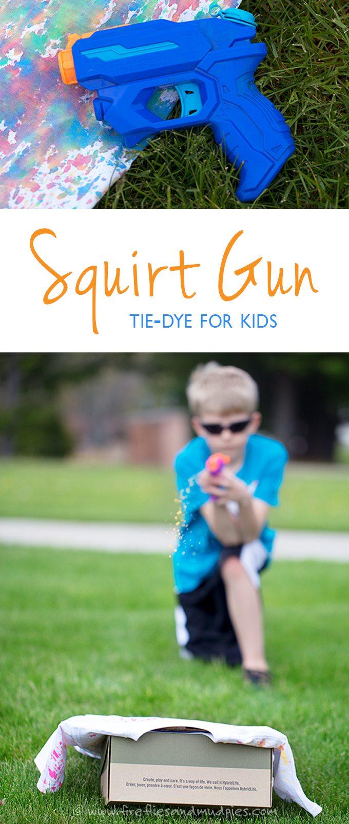 Squirt gun tie-die is awesome summer fun for kids!