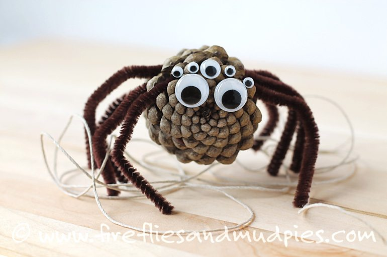 Pine Cone Spider Craft for Kids | Fireflies and Mud Pies