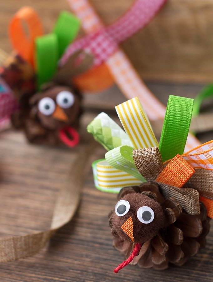 Scrap Ribbon Pinecone Turkeys