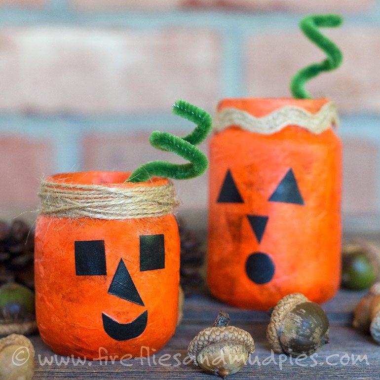 Glowing Pumpkin Jars for Kids | Fireflies and Mud Pies