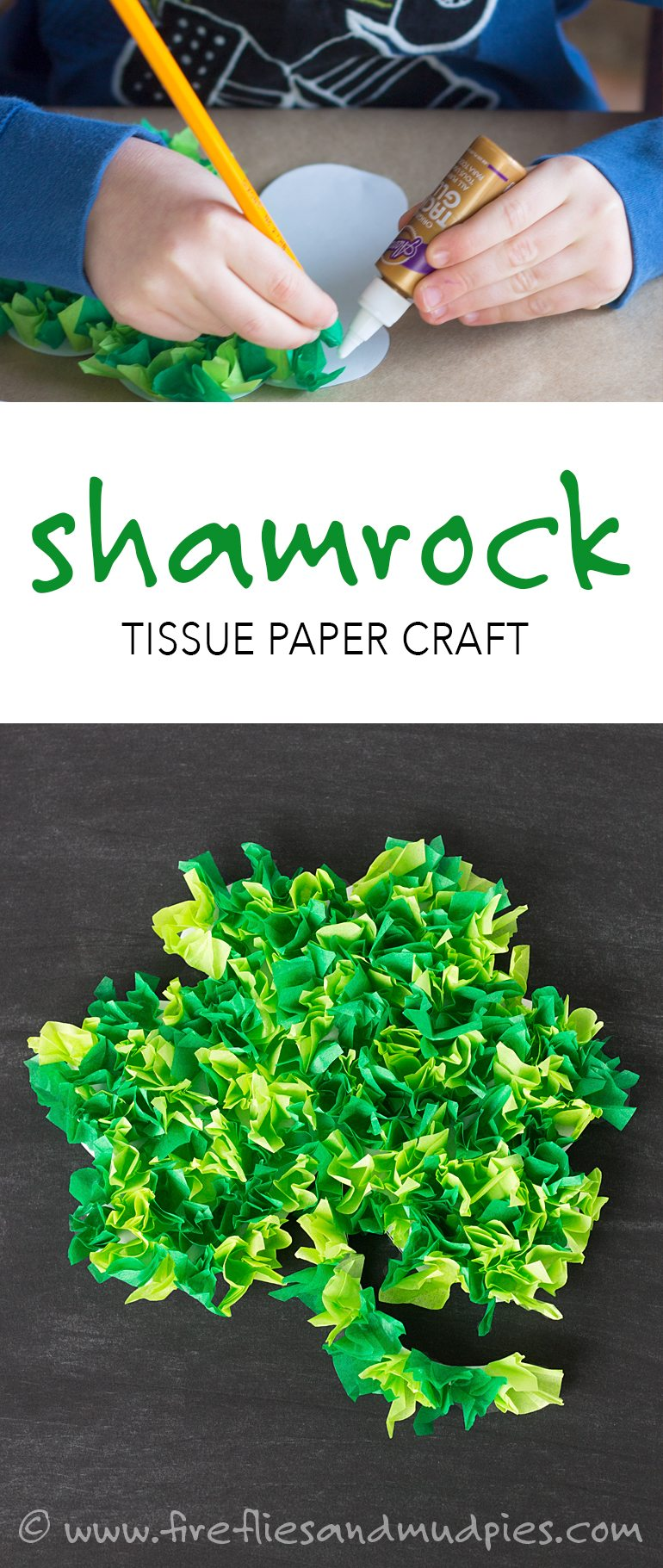 Fun St. Patrick's Day craft for kids—Shamrock Tissue Paper Craft! With a FREE printable! | Fireflies and Mud Pies