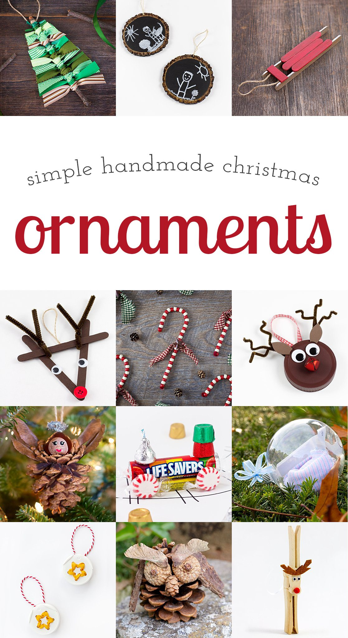 A collection of simple handmade ornaments that are popular with crafters of all ages. A thoughtful, colorful addition to any Christmas tree!