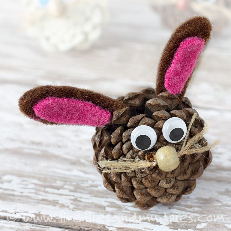 Pine Cone Bunny Craft for Easter | Fireflies and Mud Pies